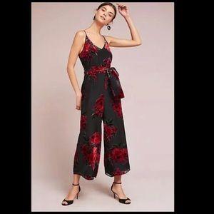 Gorgeous Black & Red Floral Jumpsuit Petite Large